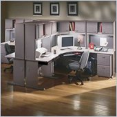 Bush White Spectrum and Pewter Advantage Series Corner Desk with Hutch