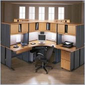 Bush Advantage Series Cubicle Set in Natural Cherry and Slate