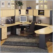 Bush Advantage Series U-Shape Office Suite in Natural Cherry and Slate
