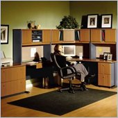 Bush Advantage Right L-Shape Office Suite in Natural Cherry and Slate