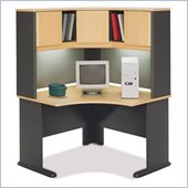 Bush Advantage Series Corner Computer Desk with Hutch in Beech and Gray