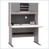 Bush Advantage Series 48 Credenza with Hutch in White Spectrum and Pewter