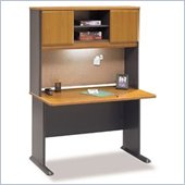 Bush Advantage Series 48 Wood Computer Desk with Hutch in Natural Cherry and Slate