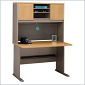 Bush Series A Advantage Wood Office Desk with Hutch in Light Oak