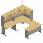 Bush Beech and Grey Advantage Series U-Shaped Corner Cubicle Set
