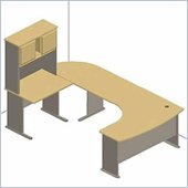 Bush Light Oak Advantage Series U-Shape Computer Desk with Hutch