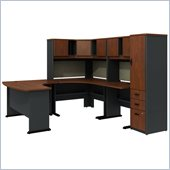 Bush Series A Hansen Cherry U-Shaped Desk with Hutch and Storage