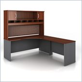 Bush Hansen Cherry Corsa Series L-Shaped Desk with Hutch