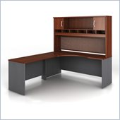 Bush Series C Professional L-Shape Wood Desk with Hutch in Hansen Cherry