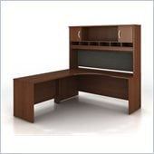 Bush Series C Wood Corner Desk with Hutch in Mahogany