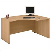 Bush Series C Right Corner Bow Front Wood Desk in Light Oak