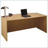 Bush Series C 71 Bow Front Wood Executive Desk in Light Oak