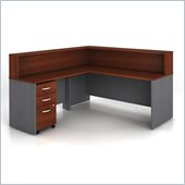 Bush Series C 4-Piece L-Shape Reception Computer Desk in Hansen Cherry