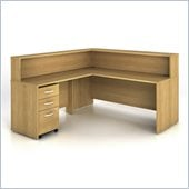 Bush Series C 4-Piece L-Shape Reception Computer Desk in Light Oak