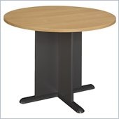 Bush Round 3.4 Conference Table with X-Shaped Base in Light Oak and Gray