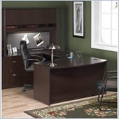 Bush Corsa Series U-Shape Home Office Wood Desk Set with Hutch in Mocha Cherry Finish