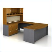 Bush Corsa Series U-Shape Corner Wood Office Set with Hutch in Natural Cherry