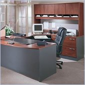 Bush Corsa Series U-Shape Wood Corner Desk with Hutch in Hansen Cherry