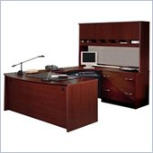 Bush Corsa Series U-Shape Wood Home Office Set with Hutch in Mahogany
