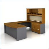 Bush Corsa Series Bow Front U-Shape Wood Computer Desk Set with Hutch in Natural Cherry