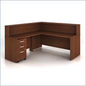 Bush Series C 4-Piece L-Shape Computer Desk in Mahogany