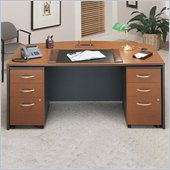 Bush Corsa Series Wood Office Desk Set in Auburn Maple