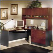 Bush Series C L-Shape Wood Desk with Hutch in Hansen Cherry