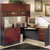 Bush Corner Home Office Wood Desk Set with Hutch in Hansen Cherry Finish