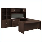 Bush Series C Mocha Cherry Executive U-Shaped Desk