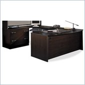 Bush Corsa Series U-Shaped Corner Office Set in Mocha Cherry