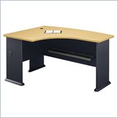 Bush Series A Left L-Shape Bow Front Wood Desk in Beech