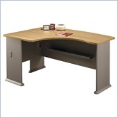 Bush Series A Left L-Shape Bow Front Wood Desk in Light Oak