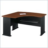 Bush Series A L-Shape Bow Front Wood Desk in Hansen Cherry