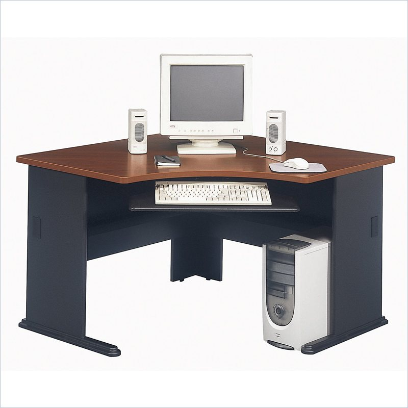 bush furniture series a corner wood hansen cherry computer desk ebay. Black Bedroom Furniture Sets. Home Design Ideas