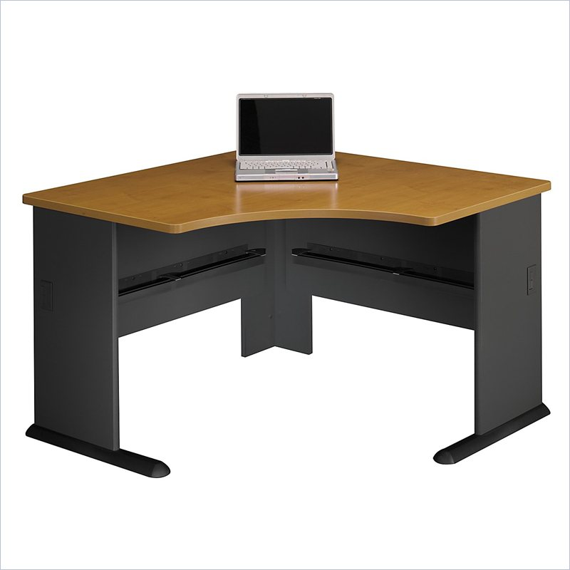 bush furniture series a corner wood natural cherry computer desk ebay. Black Bedroom Furniture Sets. Home Design Ideas