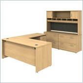 Bush Light Oak Corsa Series L-Shaped Desk w/ Cabinets
