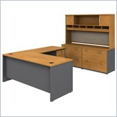 Bush Natural Cherry Corsa L-Shape Desk with Separate Hutch and Storage