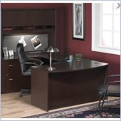 Bush Corsa Series U-Shape Wood Home Office Set with Hutch in Mocha Cherry