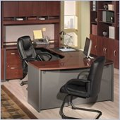 Bush Corsa Series U-Shape Bow Front Wood Home Office Set with Hutch in Hansen Cherry