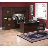 Bush Corsa Series U-Shape Office Set with Hutch in Mocha Cherry