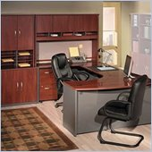 Bush Corsa Series U-Shape Corner Wood Office Set with Hutch in Hansen Cherry