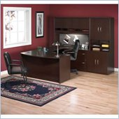 Bush Corsa Series U-Shape Wood Office Set with Hutch in Mocha Cherry
