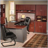 Bush Corsa Series U-Shape Wood Office Set with Hutch in Hansen Cherry