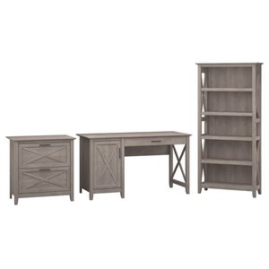 Bush Key West 3 Piece Office Set in Washed Gray