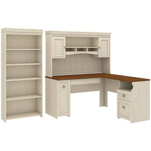 Bush Fairview L Shaped Desk with Hutch and 5 Shelf Bookcase in White