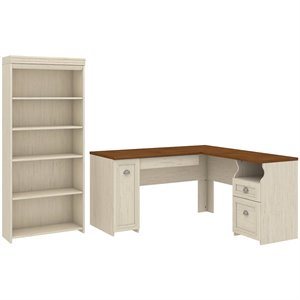 Bush Fairview L Shaped Desk and 5 Shelf Bookcase in Antique White