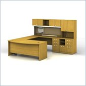Bush Quantum Wood U-Shaped Desk with Hutch in Cherry