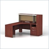 Bush Quantum L-Shape Wood Administrative Desk Set with Hutch in Harvest Cherry