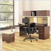 Bush Quantum L-Shape Wood Office Set With Mobile Pedestal in Harvest Cherry