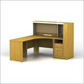 Bush Quantum Left L-Shape Administrative Configuration Wood Office Set with Hutch in Modern Cherry